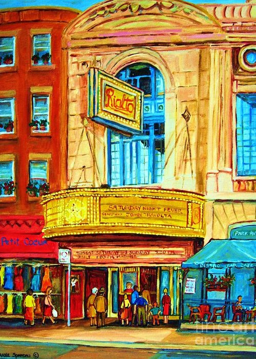Street Scene Greeting Card featuring the painting The Rialto Theatre by Carole Spandau