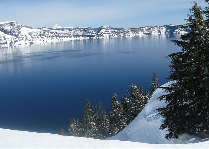 Crater Lake Greeting Card featuring the photograph The Rim by Lisa Spencer Osterhoudt