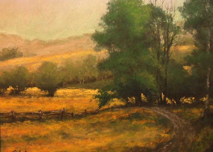 Painting Greeting Card featuring the painting The Road Less Traveled by Jim Gola