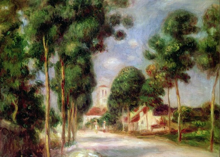 The Road To Essoyes Greeting Card featuring the painting The Road To Essoyes by Pierre Auguste Renoir