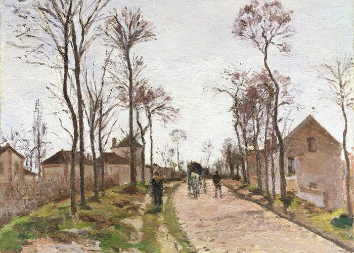 The Greeting Card featuring the painting The Road To Saint Cyr At Louveciennes by Camille Pissarro