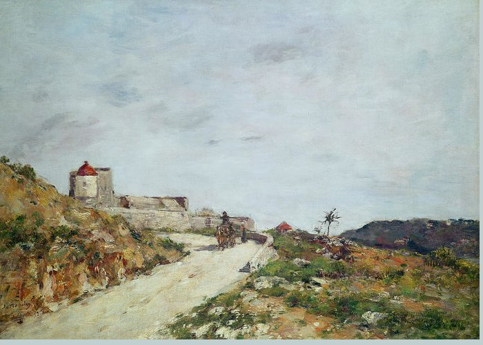 The Greeting Card featuring the painting The Road To The Citadel At Villefranche by Eugene Louis Boudin
