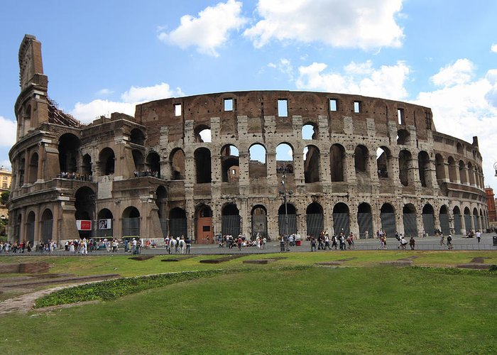 Rome Greeting Card featuring the photograph The Rome Coliseum by Joe Myeress