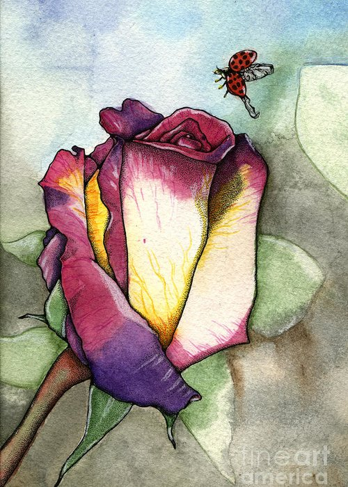 Rose Greeting Card featuring the painting The Rose by Nora Blansett