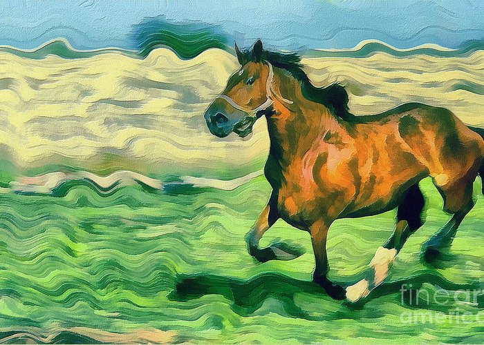 Odon Greeting Card featuring the painting The Running Horse by Odon Czintos
