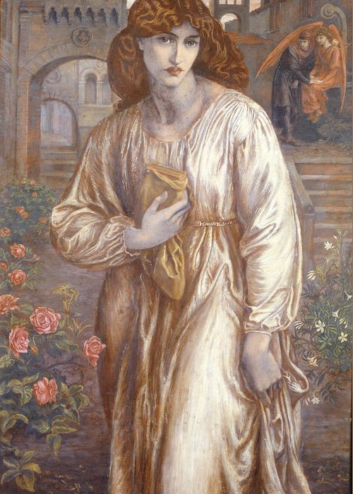 The Greeting Card featuring the painting The Salutation by Dante Charles Gabriel Rossetti