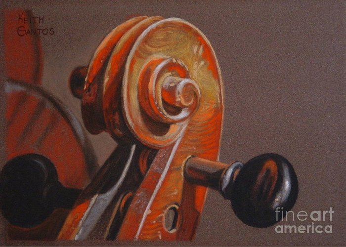 Violin Greeting Card featuring the pastel The Scroll and Pegs by Keith Gantos