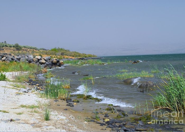 Sea Of Galilee Greeting Card featuring the digital art The Sea Of Galilee by Eva Kaufman