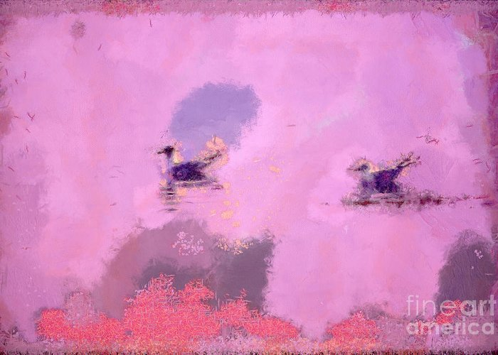 Odon Greeting Card featuring the painting The Seagulls by Odon Czintos