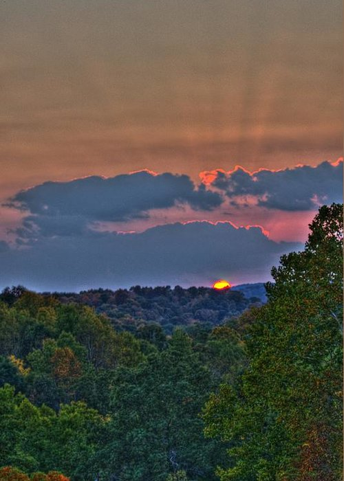 Sun Greeting Card featuring the photograph The Setting Sun by Shirley Tinkham
