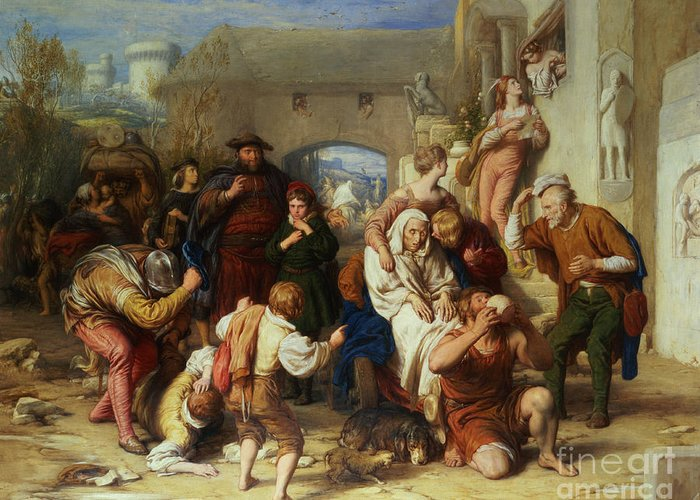 The Seven Ages Of Man Greeting Card featuring the painting The Seven Ages Of Man by William Mulready