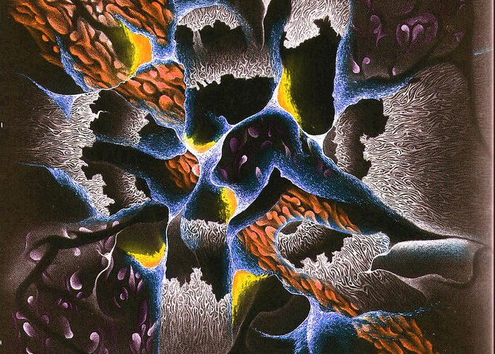 Abstract Greeting Card featuring the mixed media The Shadow Stone by Nathaniel Hoffman