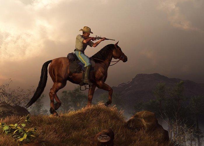 Cavalry Greeting Card featuring the digital art The Sharpshooter by Daniel Eskridge
