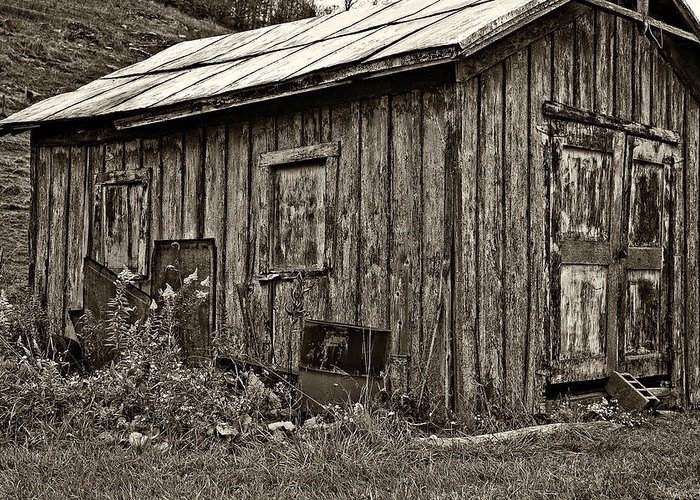 West Virginia Greeting Card featuring the photograph The Shed Sepia by Steve Harrington