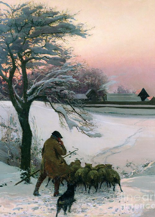 Winter Greeting Card featuring the painting The Shepherd by EF Brewtnall