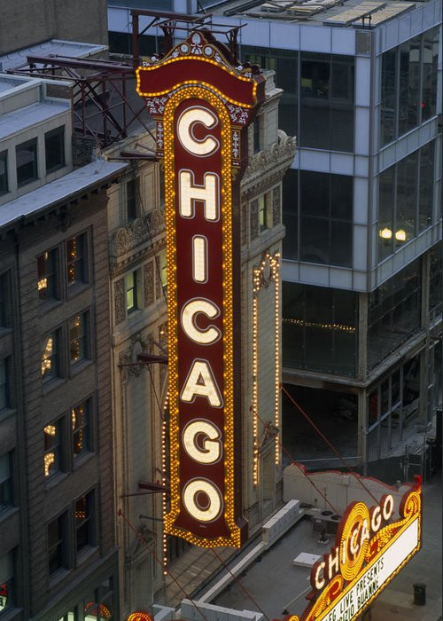 Outdoors Greeting Card featuring the photograph The Sign Outside The Chicago Theater by Paul Damien