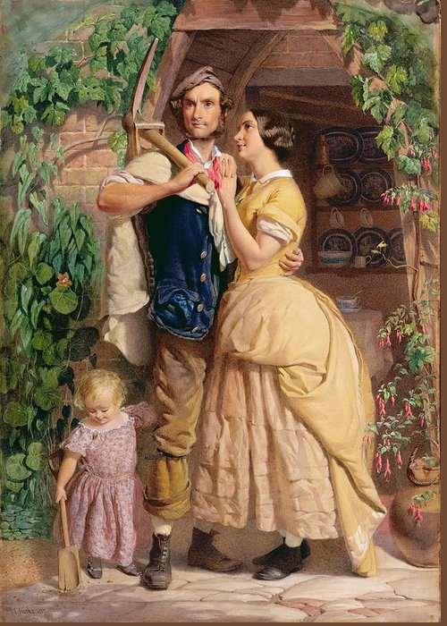 The Greeting Card featuring the painting The Sinews Of Old England by George Elgar Hicks