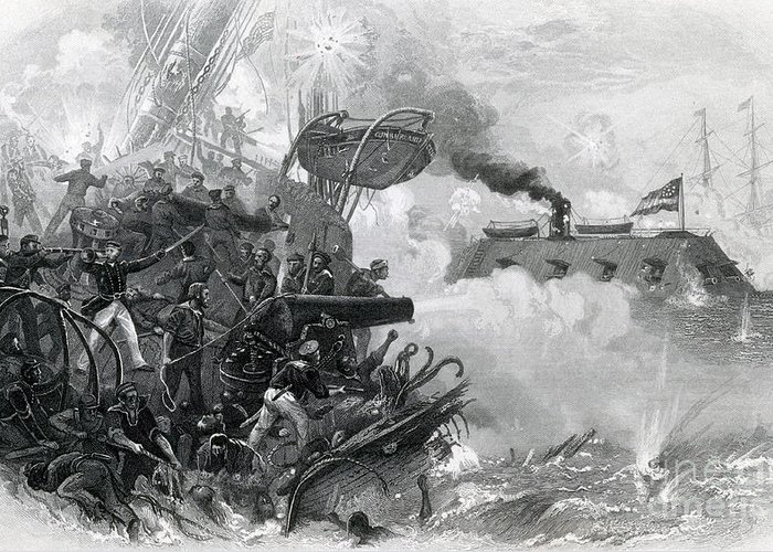 America Greeting Card featuring the photograph The Sinking Of The Cumberland, 1862 by Photo Researchers