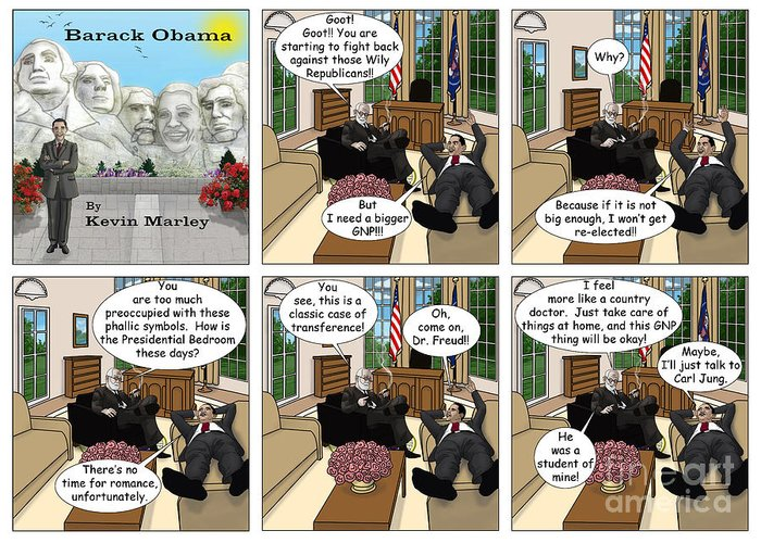 Barack Obama Greeting Card featuring the digital art The Size Of My Gnp by Kevin Marley