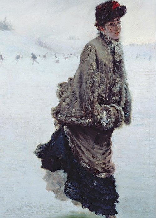 The Skater (oil On Canvas) La Patineuse; Female; Ice Skating; Rink; Snow; Winter; Fur; Muff; Hat; Skates; Leisure; Portrait Greeting Card featuring the painting The Skater by Joseph de Nittis