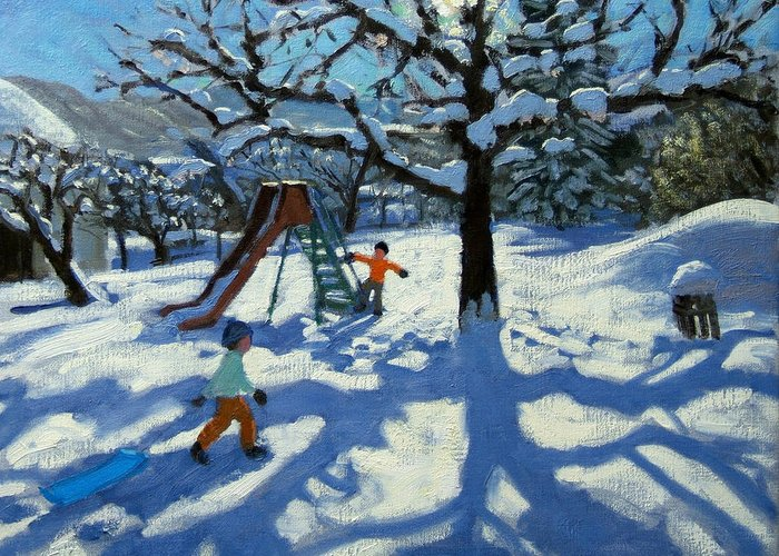Swiss Landscape Greeting Card featuring the painting The Slide In Winter by Andrew Macara