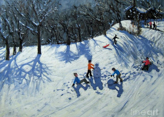 Snow Greeting Card featuring the painting The Snowman by Andrew Macara