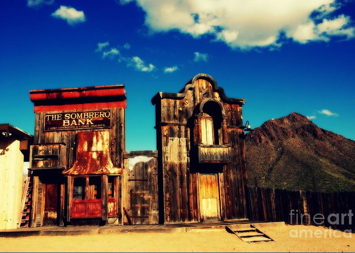 Sombrero Bank Greeting Card featuring the photograph The Sombrero Bank In Old Tuscon Arizona by Susanne Van Hulst