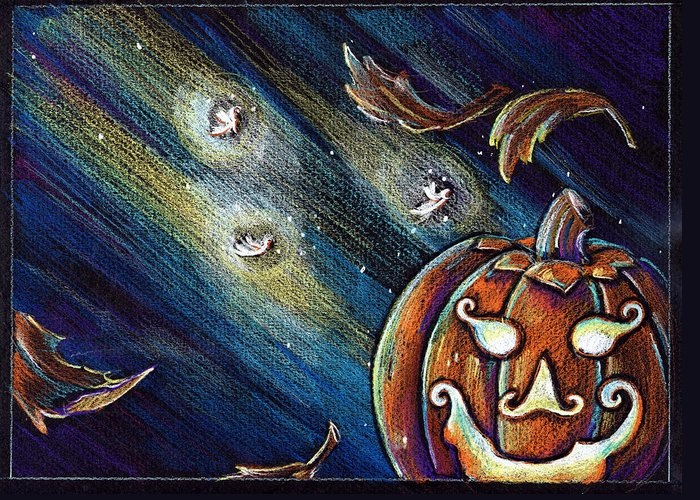 Pumpkin Greeting Card featuring the drawing The Spirit Of Halloween by Nada Meeks
