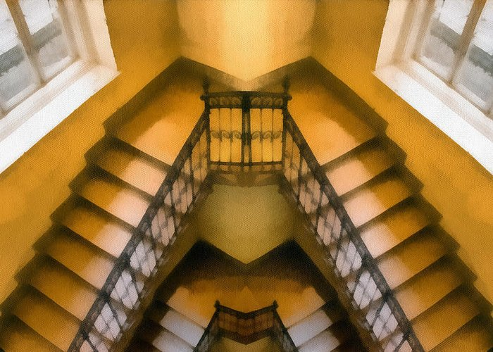 Nature Greeting Card featuring the painting The Staircase Reflection by Odon Czintos