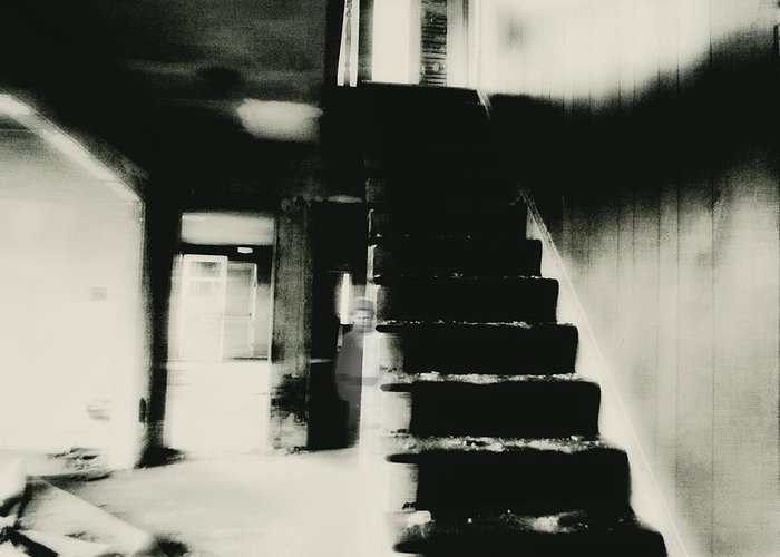 Creeepy Stairs Ghostly Scarry Dark Old Greeting Card featuring the photograph The Stairway by Trish Clark