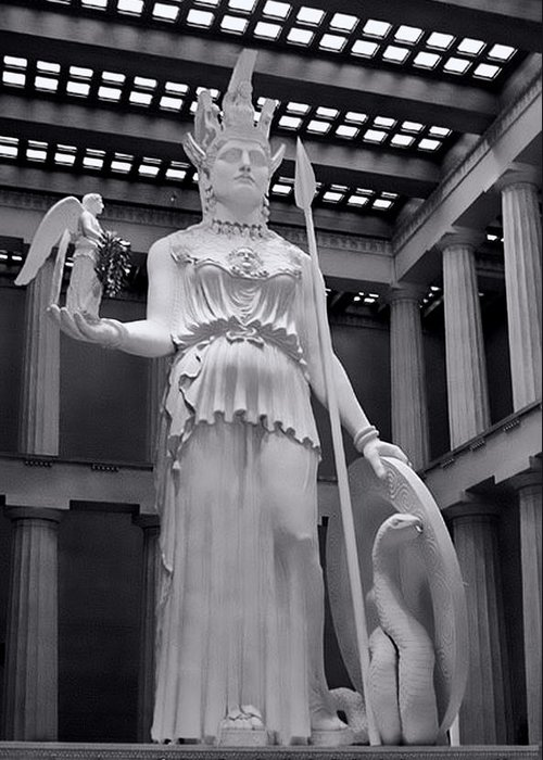 Greek Greeting Card featuring the photograph The Statue Of Athena Bw by Linda Phelps