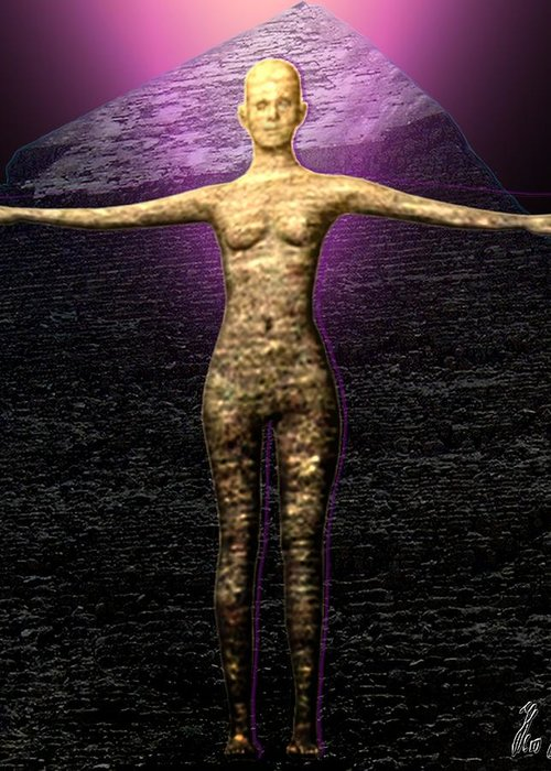 Stone Greeting Card featuring the digital art The Stoneborn Priestess Of Khufu by Helmut Rottler