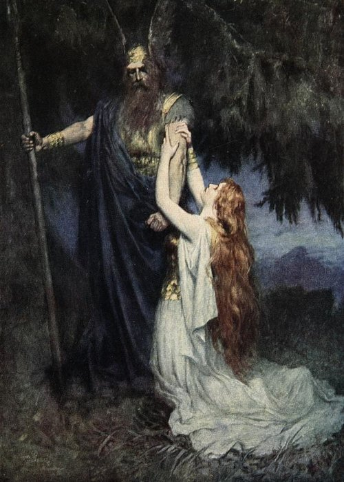 Brunhilde Knelt At His Feet Greeting Card featuring the painting The Stories Of Wagner's Operas by J Walker McSpadden