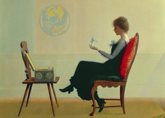 The Suitors Greeting Card featuring the painting The Suitors by Harry Wilson Watrous