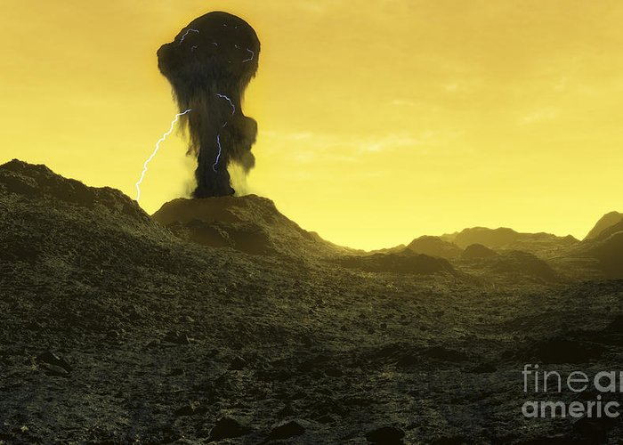Venus Greeting Card featuring the digital art The Surface Of An Infernal Planet by Fahad Sulehria