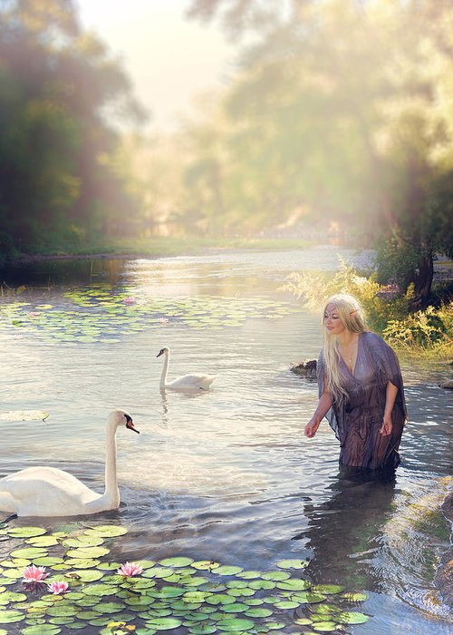 Digital Art Greeting Card featuring the digital art The Swan And The Fairy by Cindy Grundsten