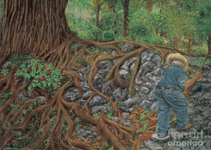 Gardener Pastel Painting Sweeper Impressionistic Working Man Garden Azalea Willow Tree Ahuahuete Sauce Roots Pedestrian Park Greeting Card featuring the painting The Sweeper by Jim Barber Hove