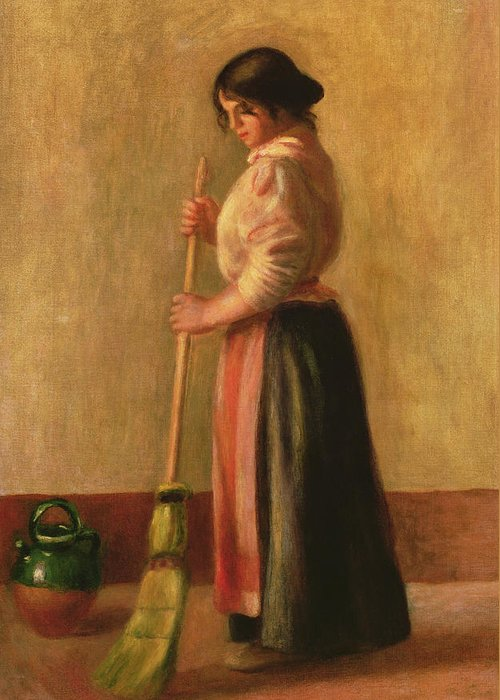 La Balayeuse; Domestic Chore; Female; Maid; Servant; Broom; Brush; Sweeping; Jug; Ewer; Impressionist; Cleaning; Floor; Balai; Balayeur Greeting Card featuring the painting The Sweeper by Pierre Auguste Renoir