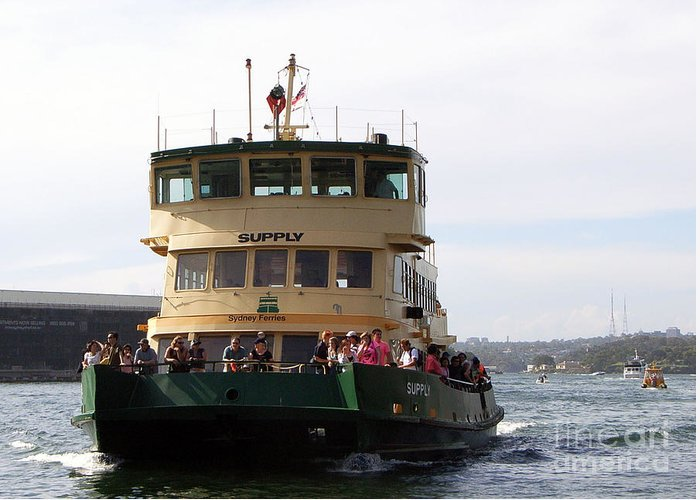 Sydney Photographs Greeting Card featuring the photograph The Sydney Harbour Ferry Supply by Joanne Kocwin
