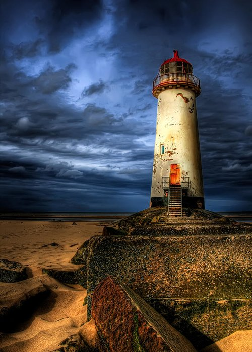 Beach Greeting Card featuring the photograph The Talacre Lighthouse by Adrian Evans