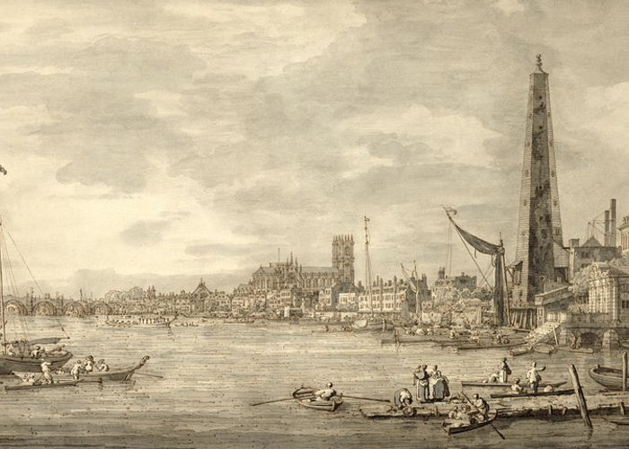 Xyc144093 Greeting Card featuring the photograph The Thames Looking Towards Westminster From Near York Water Gate by Giovanni Antonio Canaletto