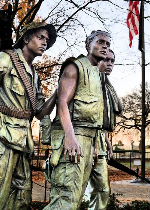 Vietnam Wall Greeting Card featuring the photograph The Three by JC Findley