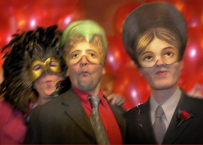 Mask Greeting Card featuring the photograph The Three Masketeers by Richard Piper