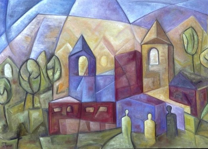 Landscape Greeting Card featuring the painting The Three Visitors by Trish Toro