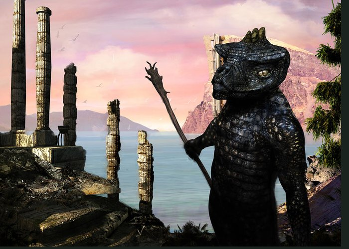 Lizardman Greeting Card featuring the painting The Tower Guard by Brian Warner