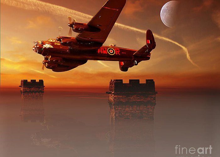Avro Lancaster Greeting Card featuring the pyrography The Towers by Nigel Hatton