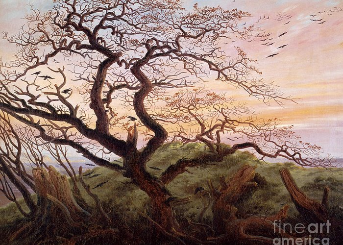 The Tree Of Crows Greeting Card featuring the painting The Tree Of Crows by Caspar David Friedrich
