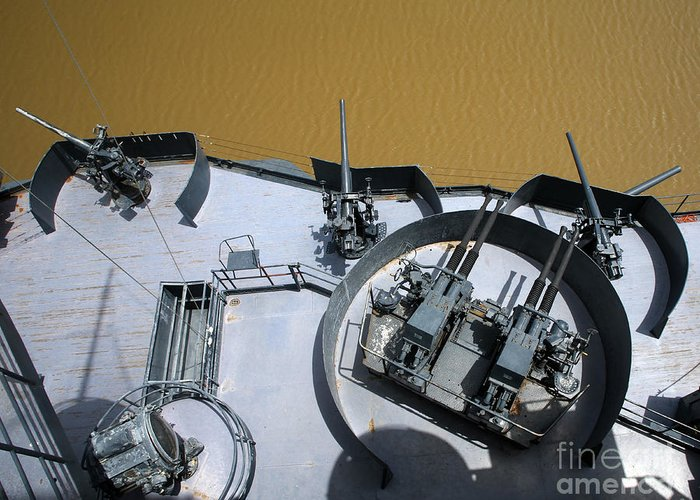 Military Greeting Card featuring the photograph The Twin Bofors 40mm Anti-aircraft by Michael Wood