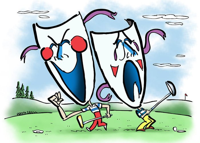 Golf Greeting Card featuring the digital art The Two Faces Of Golf by Mark Armstrong