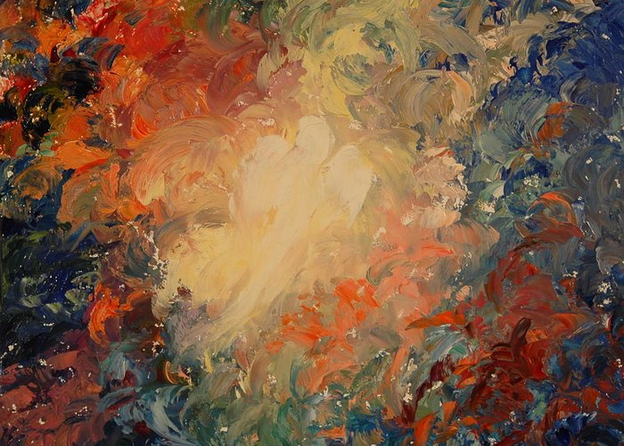 Angel Greeting Card featuring the painting The Universe by Colleen Murphy